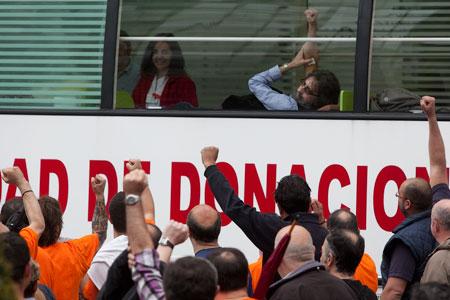 Manifestación de trabajadores de la fábrica de armas de Trubia. Oviedo, 8 de mayo de 2013. © Miki López/La Nueva España