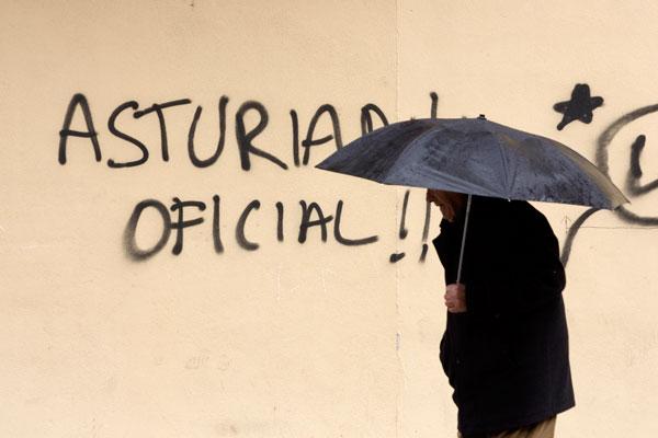 Pintada en favor de la oficialidad de la Llingua asturiana. Pola de Lena, 23 de marzo de 2007 ©Miki López