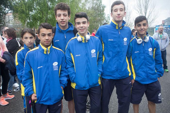 Elisa, Pablín, Pablo Menéndez, Iyán, Alberto Agrelo y Javi Corral con la equipación de la selección asturiana de judo. © Miki López
